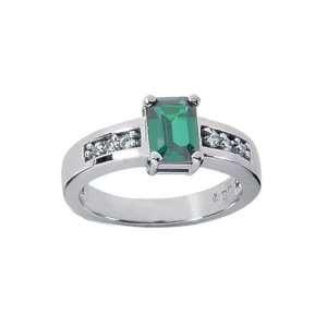 1.12 Ct 14k Emerald Cut Emerald and Diamond Ring Jewelry