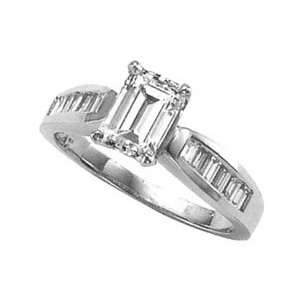 3.01 carat diamond ring EMERALD CUT baguettes accents