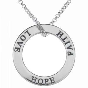 Sterling Silver Faith Hope Love Circle Necklace Jewelry