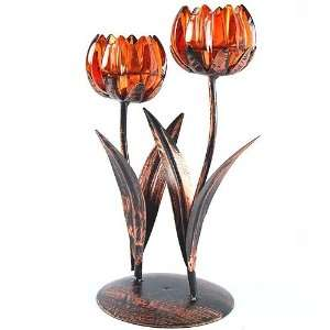 Glass Tulip Flower Blossom Antique Hand Painted Bronze Centerpiece