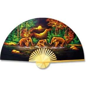 Large 60 Folding Wall Fan    Velvet Elephants    Original Hand