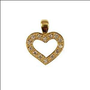 Gold, Open Heart Pendant Charm Lab Created Gems 18mm Wide Jewelry