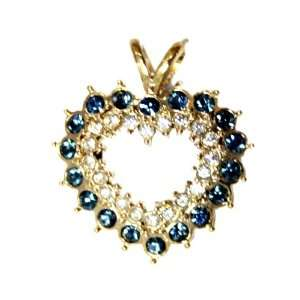 Blue and Clear Cubic Zirconia Gemstones Heart Pendant   Necklace Charm
