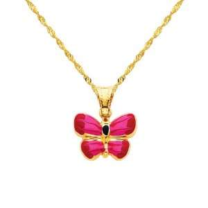 14K Yellow Gold Butterfly Enamel Charm Pendant with Yellow Gold 1.2mm