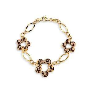 New 14k Yellow Gold Cheetah Print Flower Charm Bracelet Jewelry