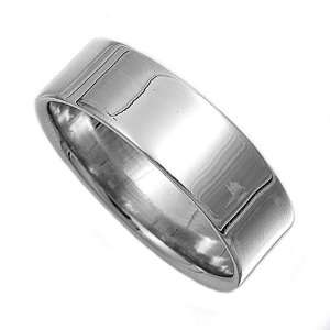 Sterling Silver Plain Cigar Band Ring   7mm size10 Jewelry