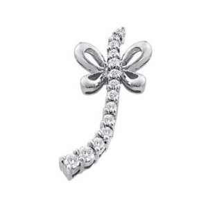 ) 14k White Gold Diamond Butterfly Journery Pendant