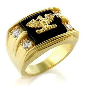 Gold Plated Brass Ring with Jet Colored Semi Precious Onyx Jewelry