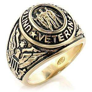 Mens United States Veteran Gold Plated Engraved Ring, 10 Jewelry