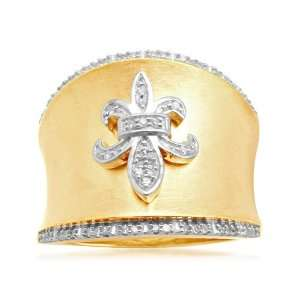 18k Gold Plated Sterling Silver Fleur de Lis Diamond Ring (1/6 cttw, I