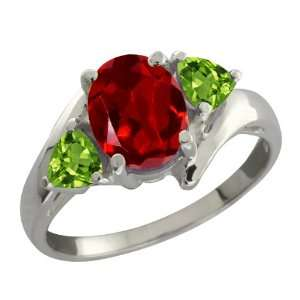 1.92 Ct Oval Red Garnet and Green Peridot Sterling Silver
