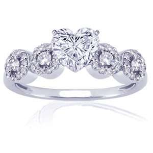 0.65 Ct Heart Shaped Diamond Engagement Ring Pave 14K VS2