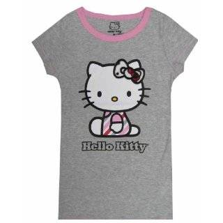 Puff Sleeve Hello Kitty Fitted Red T Shirt for women Clothing