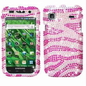 T959 (Galaxy S) Diamond Crystal Bling Protector Case   Hot Pink Zebra
