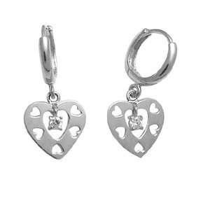 Missing Hearts Dangling Heart 14K White Gold Huggie Earrings Jewelry