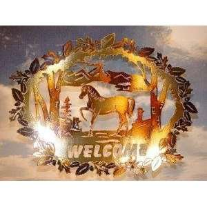 Welcome Sign   Horse Antiqued Copper Patio, Lawn & Garden