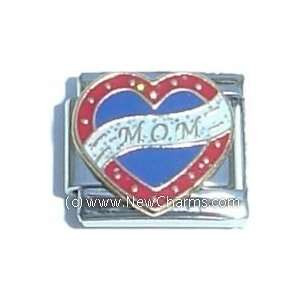 Mom Ribbon On Heart Italian Charm Bracelet Jewelry Link Jewelry