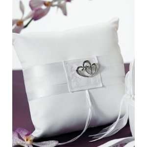 Crystal Double Heart Ring Pillow White/Ivory