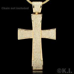 Large Gold Plated Religious Cross with CZ Bling Bling Fashion Pendant