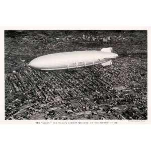 1932 Print U. S. Navy Worlds Largest Dirigible Balloon