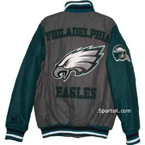 Philadelphia Eagles Grey Wool Varsity Jacket Sports & Outdoors