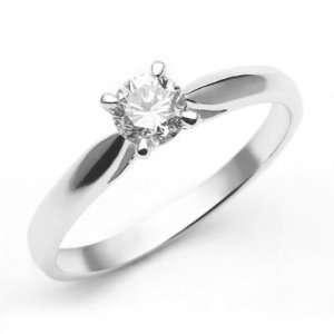 18k White Gold Diamond Solitaire Ring (0.37 ct) Size 6 Jewelry