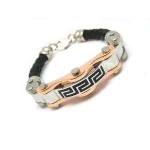 Gold Plated Black Leather Mens Greek Key Bracelet 8 1/2 Contemporary