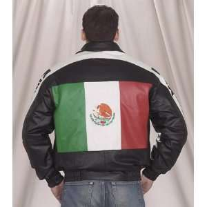 Mens Genuine Leather Mexican Flag BOMBER Jacket W/Z/O Lining & Neck