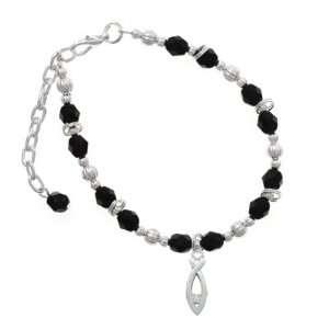 Clear Swarovski Crystal Black Czech Glass Beaded Charm  Jewelry