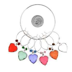 Wine Charms ~ Heart Crystal Wine Glass Charms Set of 6