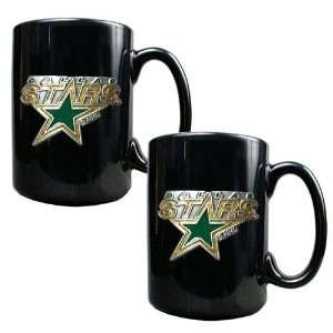 Dallas Stars NHL 2pc Black Ceramic Mug Set   Primary Logo