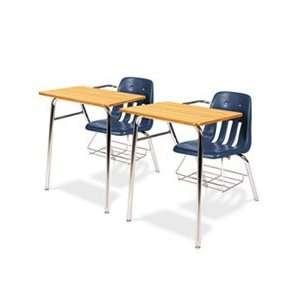 9400 Series Chair Desk, 21w x 33 1/2d x 30h, Medium Oak/Navy, 2