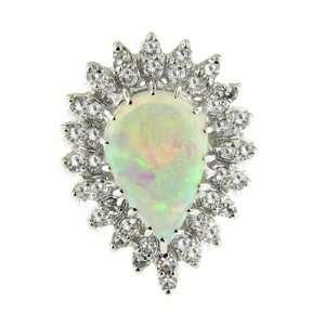 3.27 ct White Gold Opal & Diamond Ring 14 kt Jewelry