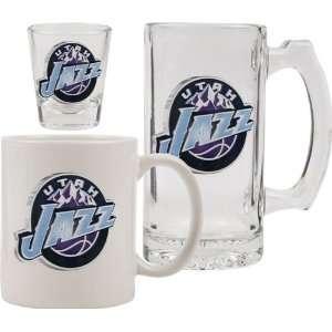 Utah Jazz Glassware Set 3D Logo Tankard, Coffee Mug, Shot