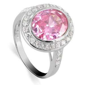 Nickel Free Sterling Silver 15 x 16mm Oval Pink Cubic Zirconia with