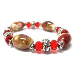 Ceramic Stone and Red Glass Beads Stretch Bracelet Jewelry