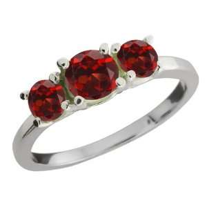 34 Ct Genuine Round Red Garnet Gemstone Sterling Silver Ring Jewelry