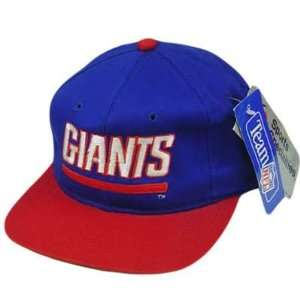 HAT CAP SNAPBACK VINTAGE NEW YORK GIANTS FLAT BILL DEADSTOCK BLUE RED