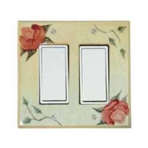 Antique Rose Ceramic Switch Plate / 2 Rocker