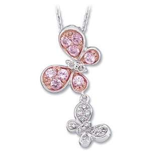 and Rose Gold Pink Sapphire and Diamond Butterfly Necklace Jewelry