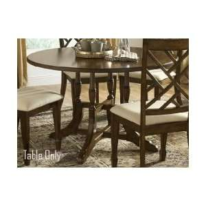 Dark Brown Round Column Style Pedestal Dining Table: Home