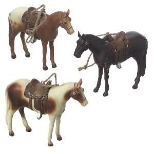 Horses with Saddles Christmas Ornament Set of 3