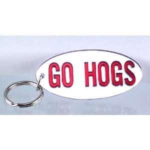 Silver W/Maroon GO HOGS Oval Mirror Key Chain: Sports & Outdoors