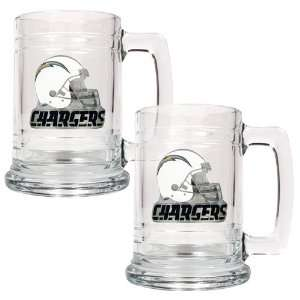 San Diego Chargers NFL 2pc 15oz Glass Tankard Set  Helmet