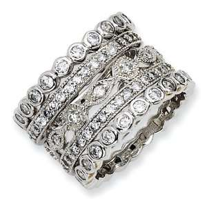 Gold plated Sterling Silver CZ Eternity Five Ring Set Size 8 Jewelry