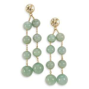 14k Gold Luck Natural Light Green Jade Beads Earrings Jewelry
