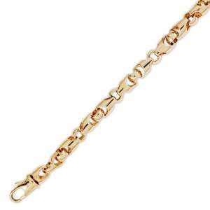 14K Solid Yellow Gold Hip Hop Bullet Chain Bracelet 6mm