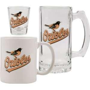 Orioles Glassware Set 3D Logo Tankard, Coffee Mug, Shot Glass
