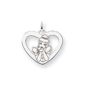 Sterling Silver Disney Cinderella Heart Charm   JewelryWeb Jewelry