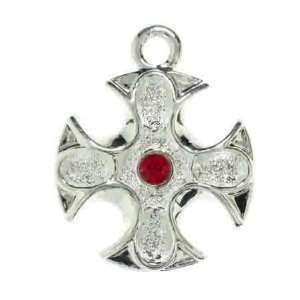 Silver Iron Cross Charm Light Siam Swarovski Crystal